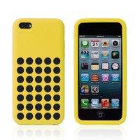 Чехол для iPhone 5c c отверстиями желтый - Dots Silicone Case Yellow