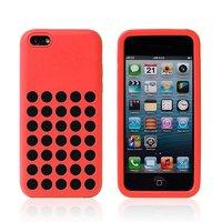 Чехол для iPhone 5c c отверстиями красный - Dots Silicone Case Red