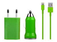 Зеленая зарядка 3 в 1 для iPhone 5s / 5c / 5 авто зу, сетевое зу и кабель