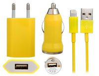 Желтая зарядка 3 в 1 для iPhone 5s / 5c / 5 авто зу, сетевое зу и кабель
