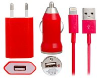 Красная зарядка 3 в 1 для iPhone 5s / 5c / 5 авто зу, сетевое зу и кабель