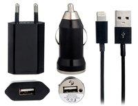 Черная зарядка 3 в 1 для iPhone 5s / 5c / 5 / 6s / 7 авто зу, сетевое зу и кабель
