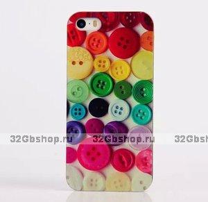Чехол накладка для iPhone 5 / 5s / SE пуговицы