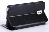 Черный чехол книжка для Samsung Galaxy Note 3 N9000 с карманом для карточек - Wallet Book Card Case Black