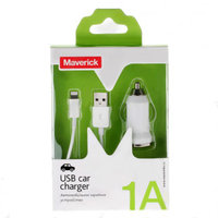 Автомобильное зарядное устройство Maverick для iPhone 5s / 5 / iPad mini (блок питания и кабель) 1000mA белое