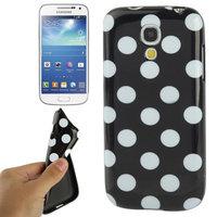 Силиконовый чехол для Samsung Galaxy S4 Mini черный с белыми точками - Polka Dots