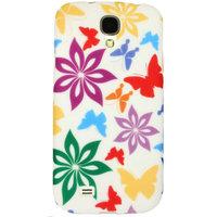 Силиконовый чехол для Samsung Galaxy S4 бабочки и цветы