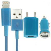 Голубая зарядка 3 в 1 для iPhone 5s / 5c / 5 авто зу, сетевое зу и кабель