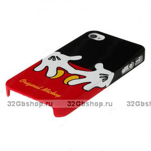 Чехол накладка для iPhone 5 / 5s / SE красный Микки Маус руки