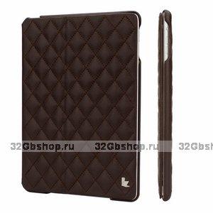 Стеганый коричневый кожаный чехол Jisoncase для iPad Air