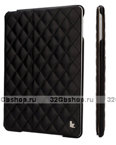 Стеганый черный кожаный чехол Jisoncase для iPad Air
