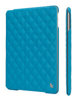 Стеганый голубой кожаный чехол Jisoncase для iPad Air