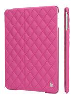 Стеганый ярко-розовый кожаный чехол Jisoncase для iPad Air