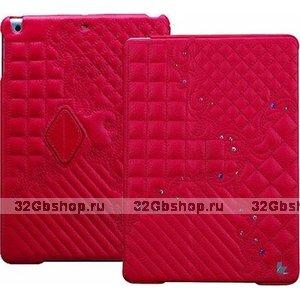 Розовый стеганый чехол со стразами Jisoncase для iPad Air натуральная кожа