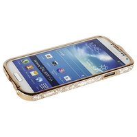 Бампер металлический Newsh для Samsung Galaxy S4 i9500 / i9505 со стразами золотой