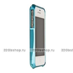 Бампер алюминиевый Deff Cleave для iPhone 4/4S голубой