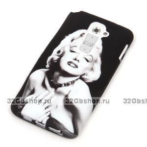 Черный силиконовый чехол для LG G2 с рисунком Мэрилин Монро