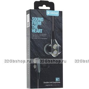 Наушники проводные Celebrat H1 Dual Driver стерео гарнитура с микрофоном (1.2 м) Черный
