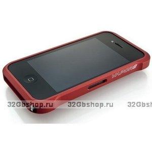 Бампер металлический Vapor для iPhone 4/4S красный