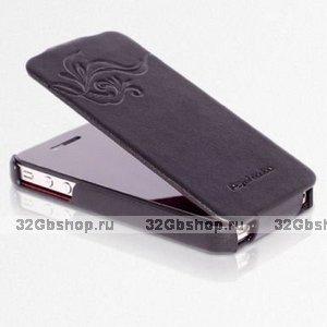 Сумка футляр-книга HOCO для iPhone 4/4S с тиснением коричневая