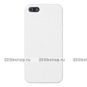 Белый глянцевый пластиковый чехол накладка для iPhone 5s / SE / 5