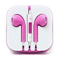 Розовые стерео наушники для iPhone 5s / 5 гарнитура с микрофоном и регулировкой громкости