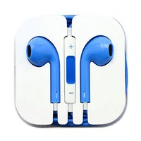 Синие стерео наушники для iPhone 5s / 5 гарнитура с микрофоном и регулировкой громкости