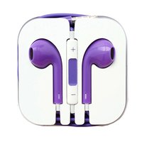 Фиолетовые стерео наушники для iPhone 5s / 5 гарнитура с микрофоном и регулировкой громкости
