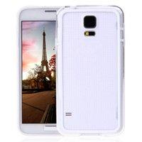 Чехол бампер для Samsung Galaxy S5 прозрачный с белой вставкой