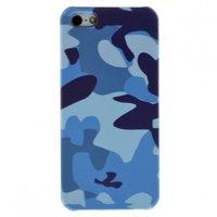 Чехол накладка для iPhone 5 / 5s / SE синий камуфляж