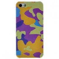 Чехол накладка для iPhone 5 / 5s / SE желтый фиолетовый камуфляж