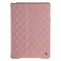 Стеганый светло-розовый кожаный чехол Jisoncase для iPad Air