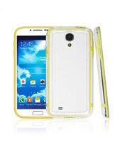Бампер для Samsung Galaxy S4 mini прозрачный с желтой вставкой
