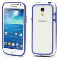 Бампер для Samsung Galaxy S4 mini прозрачный с синей вставкой