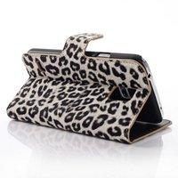 Чехол кошелек для Samsung Galaxy S5 серый леопард - Leopard Wallet Case Grey