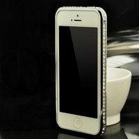 Бампер металлический для iPhone 5s / SE / 5 серебро  стразы - Silver Diamond Bumper iPhone 5s / SE / 5