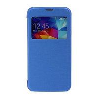 Чехол книжка c окном для Samsung Galaxy S5 mini голубой S View and Plastic Back Case Blue