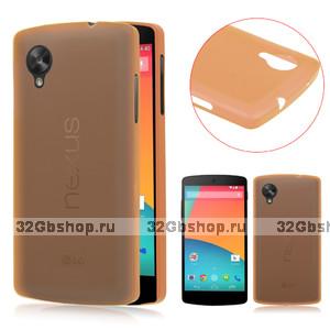 Ультратонкий чехол для Google Nexus 5 оранжевый - 0.3 mm Ultra Thin Matte Orange Case
