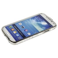 Бампер металлический Newsh для Samsung Galaxy S4 i9500 / i9505 со стразами серебро