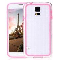 Розовый бампер для Samsung Galaxy S5 mini с прозрачной вставкой