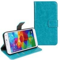 Чехол кошелек для Samsung Galaxy S5 бирюзовый голубой - Crazy Horse Wallet Case Sky Blue
