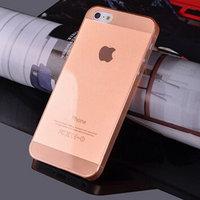 Чехол накладка для iPhone 5s / SE / 5 оранжевый прозрачный пластик