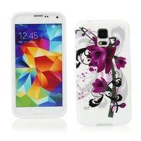 Чехол силиконовый для Samsung Galaxy S5 mini фиолетовые цветы