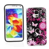 Чехол силиконовый для Samsung Galaxy S5 mini черный с цветами и бабочками