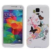 Чехол силиконовый для Samsung Galaxy S5 mini с узоры бабочки и круги