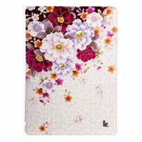 Чехол Jisoncase для iPad Air 5 розовые и бордовые хризантемы
