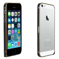 Металлический бампер Fashion Black&Gold для iPhone 5s / SE / 5 черный с золотой гранью