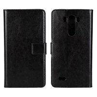 Черный чехол кошелек для LG G3 - Crazy Horse Wallet Case Black