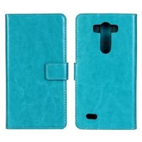 Голубой чехол кошелек для LG G3 - Crazy Horse Wallet Case Sky Blue