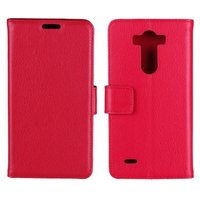 Чехол кошелек для LG G3 S красный - Crazy Hourse Wallet Case Stand Red